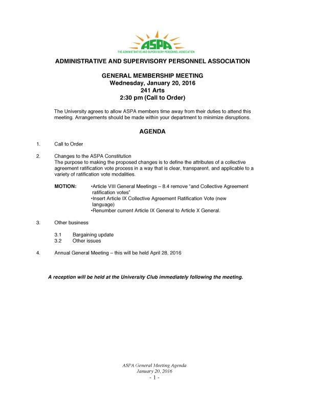 Jan General Meetiing Agenda