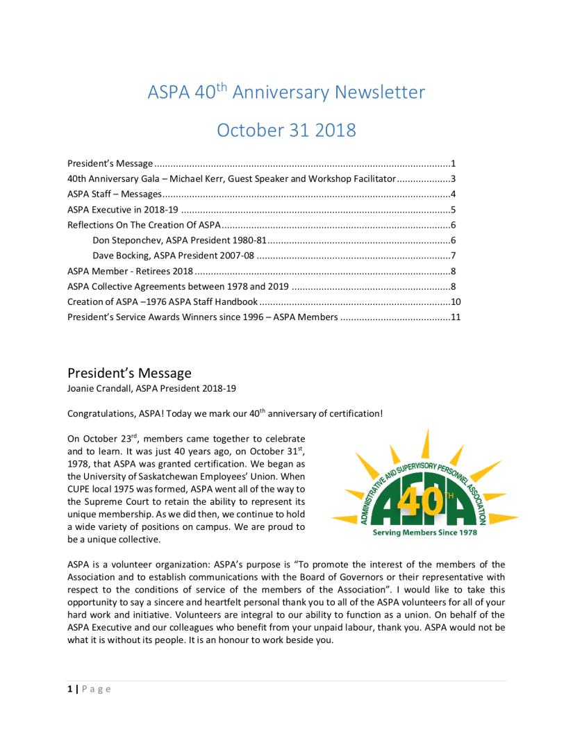 Oct 31 Newsletter